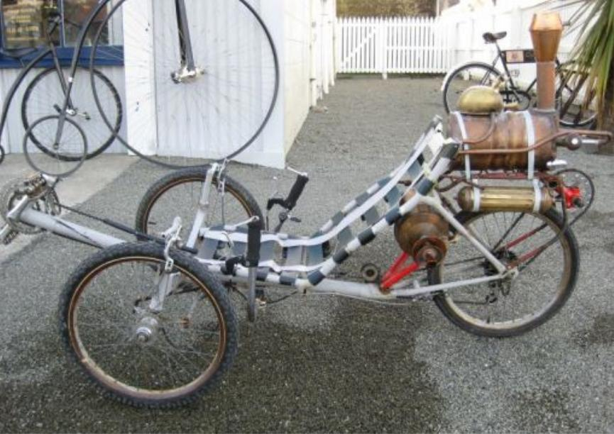 Home made DIY steampunk steam powered trike